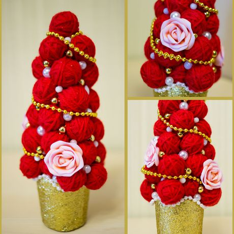 хэнд-мейд красивая фоамиран красная елочка модная елка декор пряжа