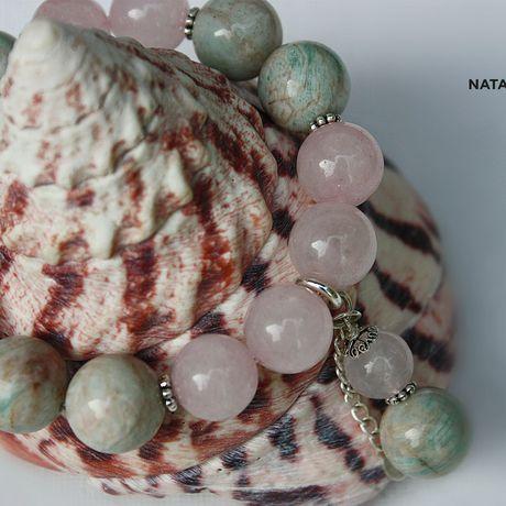 амазонит украшение браслет натуральные серебро розовый камни кварц подарок