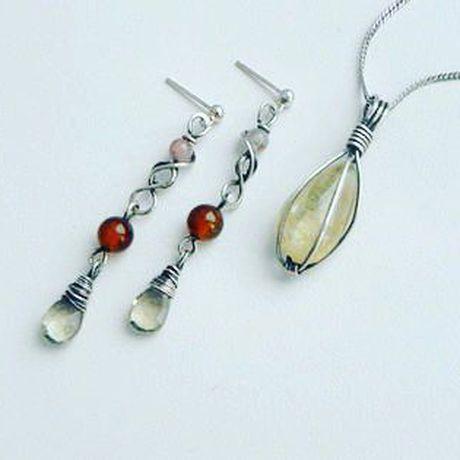 cvetkova серьги handmade комплектукрашений серебро wirewrap