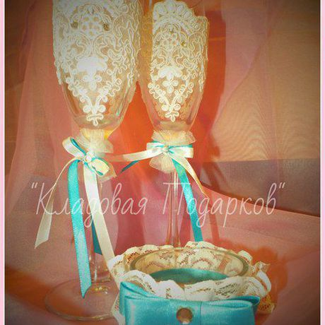 бокал подарок подсвечник ручнаяработа свадьба голубой