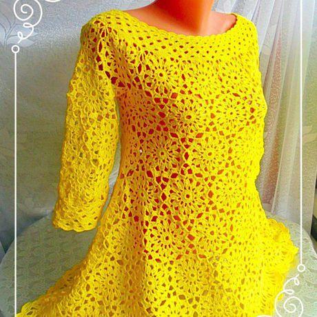 блузка женская вязаное вязание желтая кофта крючком туникавязаная мотивами бохо