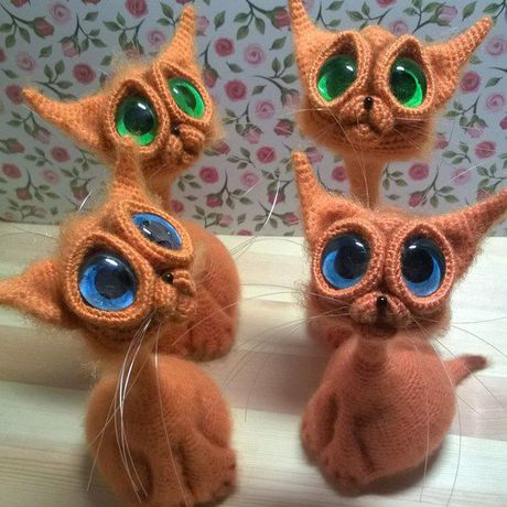 игрушка кот вязание интерьерная большие глаза крючком