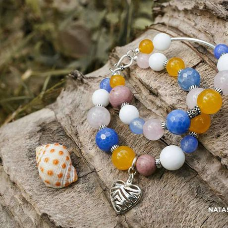 украшение браслет родонит жадеит агат натуральные серебро розовый камни кварц подарок