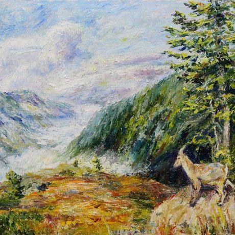 мариналаврова импрессионизм холст живопись горы масло пейзаж