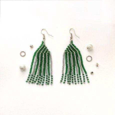 украшение серьги бисер handmade бижутерия плетеные зеленый