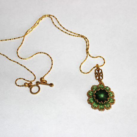 золотой украшения бисер бусины подвеска кристалл бижутерия бисероплетение сваровски кулон зеленый цветок