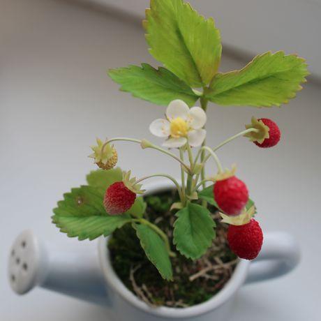 земляникахолодный фарфорполимерная глинаручная работацветы работыполимерная земляника ручной