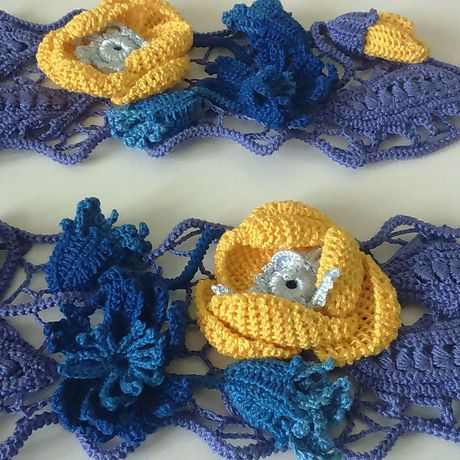ирландское кружева ирландскоекружево фиолетовый желтыемаки полевыецветы манжеты уветы тунис желтый васильки синий хлопок тунисскоевязание