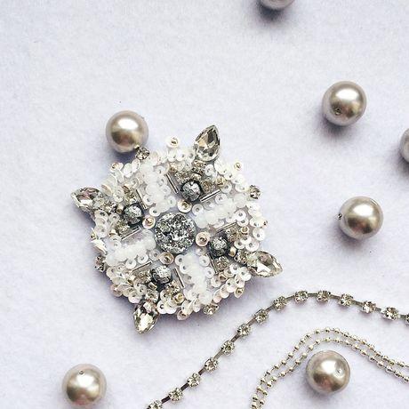 новый белый брошь бисера год плетение украшение девушке подарок