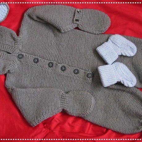 одежда спицами новорожденным детская вязанная