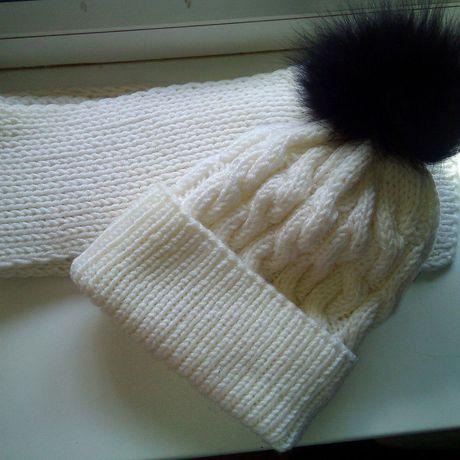 зимняя мех зимний шапка белый комплект шарф
