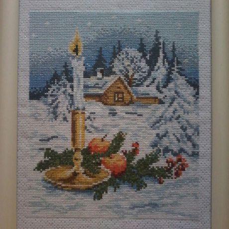 свеча зима снег рождество домики
