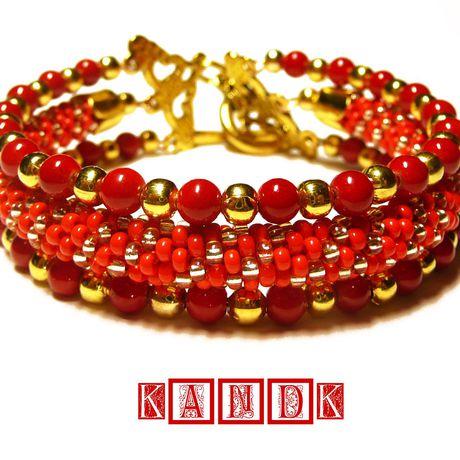 клюква коралловый kandk кораллы тройной браслет красный подарок