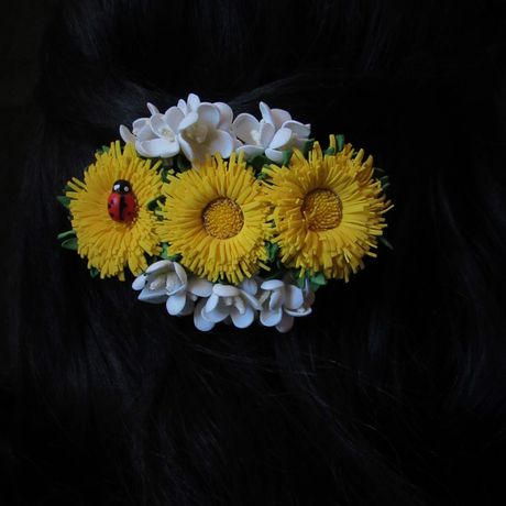 заколка фоамирана одуванчики из цветы