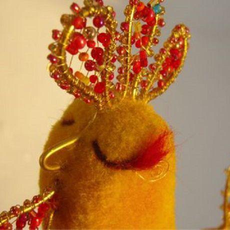 игрушка золотой бисер сухоеваляние петушок петух валяниеизшерсти