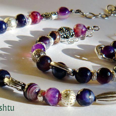 фиолетовый серьги браслет агат бусы комплект