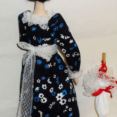кукла дамочка зонтик интерьерная текстильная
