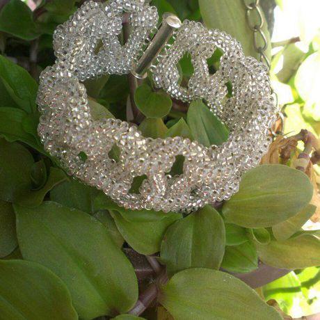 серебро бижутерия ручная работа украшение бисер браслет