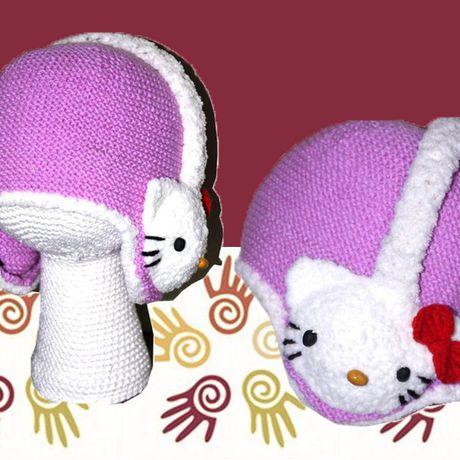 наушники девочек связанное плюшевая сиреневая котята и спицами аксессуары ручная детские для детям шляпы шапки продажа купить работа кошки китти