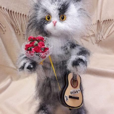 игрушка кот вязание интерьерная подарок