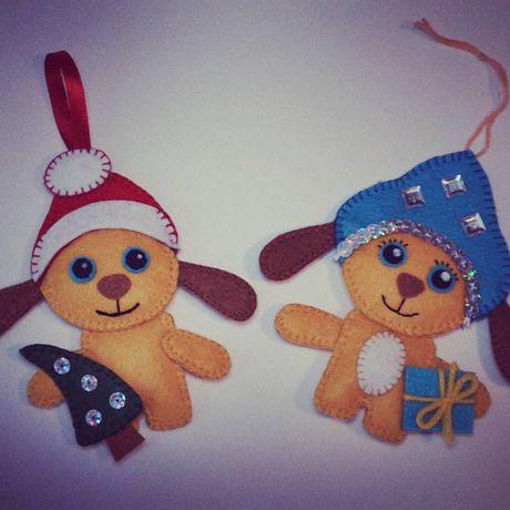bogiboo handmade изделиеизфетра подвеска новыйгод годсобаки снегурочка сувенир дедмороз украшение ручнаяработа фетр подарок