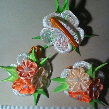 цветочки ленты волос канзаши украшения ручная для hand made работа резинки