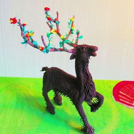 бархатный пластик статуэтка леса фигурка хендмейд хранитель олень