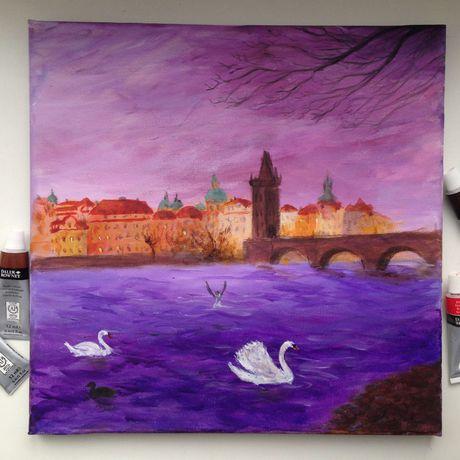 карлов лебедь акрил  прага влатва мост живопись арт искусство картина пейзаж