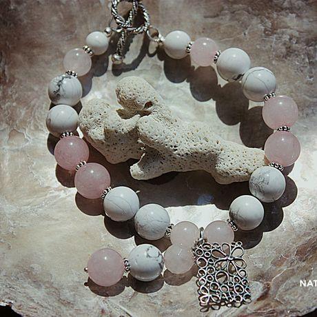 кахолонг украшение браслет натуральные серебро розовый камни кварц подарок