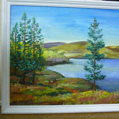 пейзаж картинамаслом красное осень озеро разноцветное небо соснысопки лес