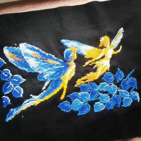 крестики светлячки мулине эльфы вышивка ночь картина