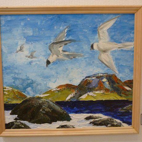 картинамаслом север сопки небо птицы мастихин масло чайки пейзаж ярко