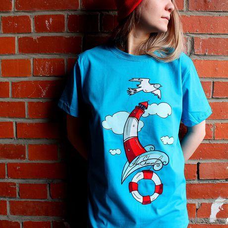 спб печать футболка авторский принт маяк морской ткани стиль принтом чайка