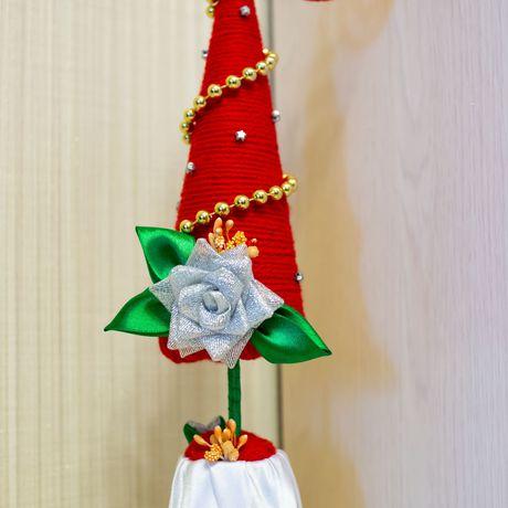 модная хэнд-мейд красная красивая елочка елка декор пряжа атлас