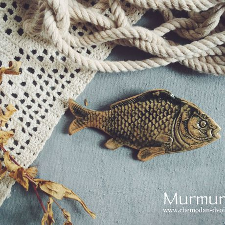 murmuring чемодандвоих брошьрыба фарфор рыбы брошь рыбка рыба