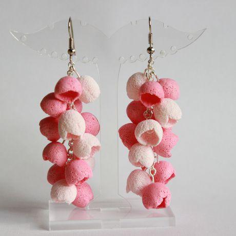 романтичные розовые бутоны нежные глина длинные летние украшения серьги полимерная ручная колокольчики шапочки бижутерия работа