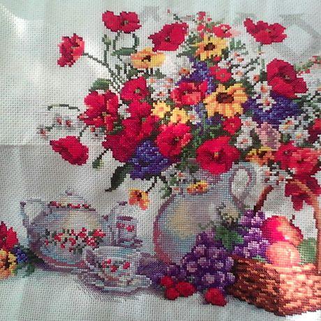 крестиком маки сервиз вышивка чайный цветы натюрморт картина фрукты