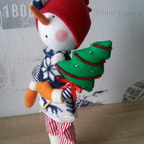 интерьерная снеговик игрушка кукла новыйгод подарок