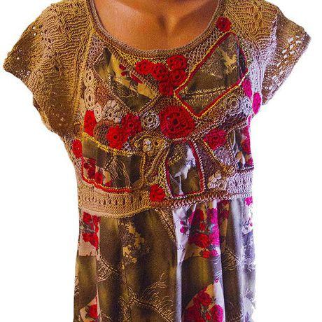 отделка-кружевом платье-вязаное наборное-кружево отделка-одежды авторская-ручная-работа авторское-платье платье