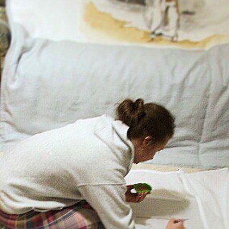 работанабор покрывалонаволочкиручная росписьподарок ручная