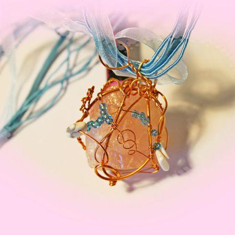 украшение бисер кулон кварц
