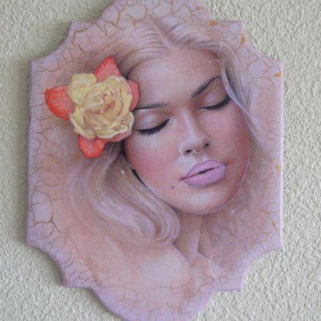 девушка декупаж панно нежность цветок картина