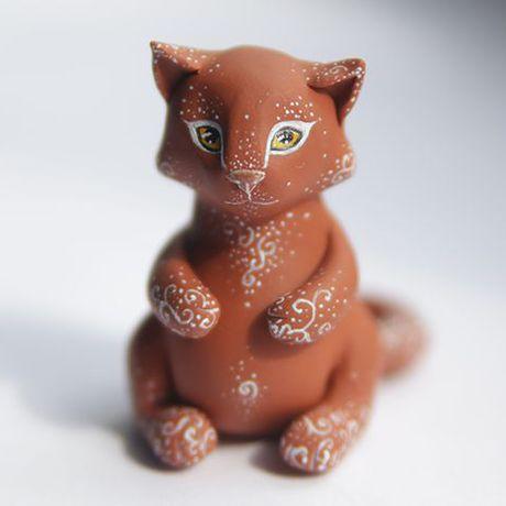 рыжий котик кошка пряник коти коричневый подарок