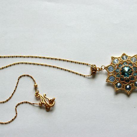 золотой бусины кристалл украшения бисер подвеска звезда синий бижутерия сваровски прозрачный кулон голубой