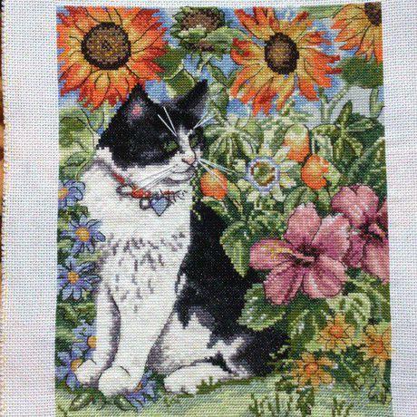 вышивка крестом животные картины кошки цветы