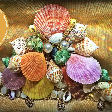 морскойстиль жемчужина ракушки агат камни