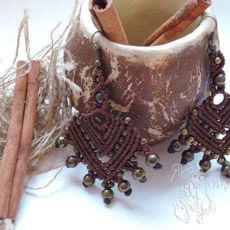 крупные легкие эксклюзивное украшенияназаказ украшения серьги коричневый ручнаяработа бохо подарок этно