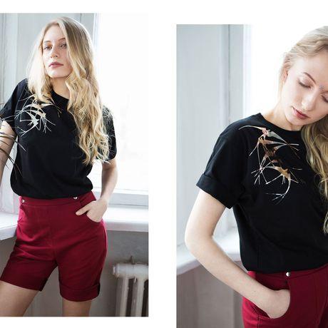 бренд ласточки ksusharaikova хлопок одежда футболка