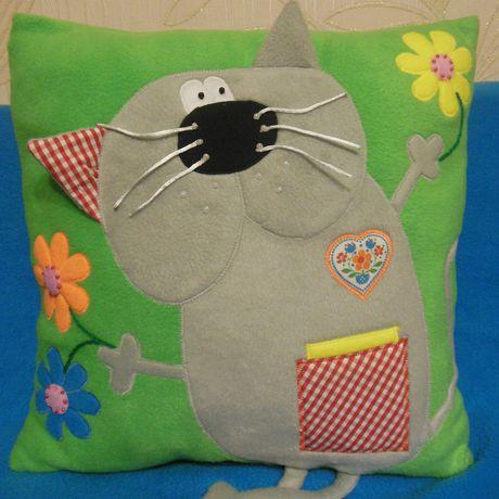 аппликация подушка кот ручнаяработа подарок