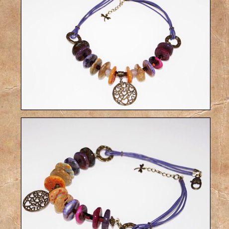 фиолетовый женщин стильно украшения подарки handmade для агат ручнаяработа кожа натуральныекамни ярко
